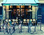 Paris Cafe in the Marais- Cafe Photo, Art Prints, Bike, Paris Photography, Blue Paris Decor, French Kitchen Art