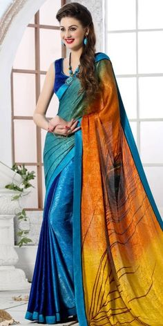 Stunning Orange And Multi-Color Silk Printed Saree.