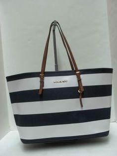 MICHAEL KORS Navy  White Leather Stripe Jet Set Travel Tote Handbag  Handbags Michael Kors, 4e7a4b7522