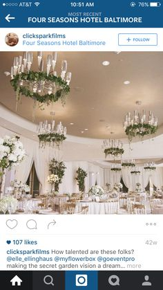 Flowers on chandeliers Four Seasons Hotel, Chandeliers, Reception, Table Decorations, Weddings, Flowers, How To Make, Transitional Chandeliers, Chandelier