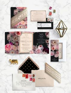 Modern-chic invitations: http://www.stylemepretty.com/illinois-weddings/chicago/2015/08/17/romantic-chicago-loft-wedding/ | Photography: Sean Cook - http://seancookweddings.com/
