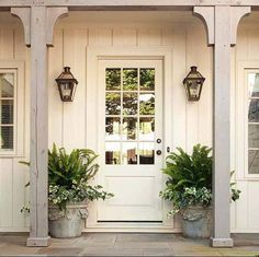 """Farmhouse porch; details at top """"chunky"""", more modern?"""