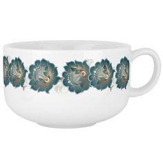 Large Abstract Green Silver Flower Wreath Soup Mug