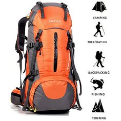 Tloowy Outdoor Backpack Hiking Bag Camping Travel Rucksack Waterproof Mountaineering Sports Outdoor Camping Hiking Shoulder Climbing Rock Backpacks Orange * Find out more about the great product at the image link. (This is an affiliate link) Camping Packing, Camping Gear, Outdoor Camping, Outdoor Travel, Backpacking Gear, Hiking Gear, Waterproof Hiking Backpack, Climbing Backpack, Gear Best