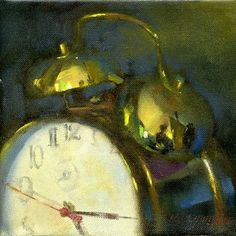 "Alarm Clock with Reflection 8""x8"" Oil on canvas"