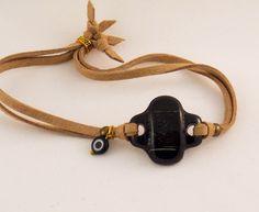 Fused glass black cross bracelet-black eye bracelet-cross bracelet leather-fused glass jewelry-cross bracelet sideways-charm bracelet by BottlesAndOthers on Etsy