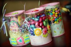 Easter goodies in altered clear paint tins