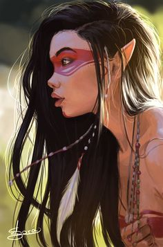 There's a tribal vibe to this Indigenous elf #concept #art by Ana Carolina de Macedo
