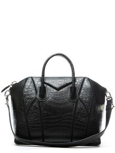 Givenchy Black Croc Embossed Calfskin Medium Antigona Bag