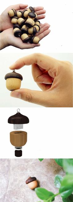 Acorn-Shaped Mini Wood USB Flash Drive