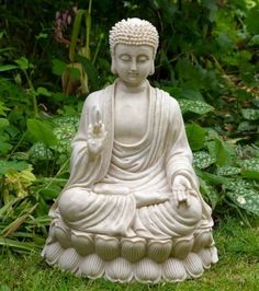 Sitting Shakyamuni Buddha White Stone Finish Large Garden Zen Statue Sculpture