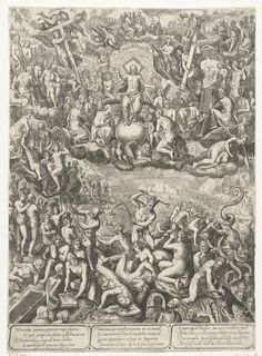 Barbara van den Broeck | Laatste oordeel, Barbara van den Broeck, Hendrick Hondius (I), 1649 | Laatste Oordeel met boven: Christus tronend op de regenboog en zijn voeten rustend op de wereldbol. Hij wordt omringd door engelen met passiewerktuigen, heiligen met hun attributen en kerkvaders. Onder in de hel tonen demonen de zielen geen genade. Onder de voorstelling staat een vers in vier regels dat in drie talen herhaald wordt.