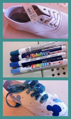 DIY Mickey shoes. Too cute. I'm gonna go to target and get all this and do it for my Disney trip