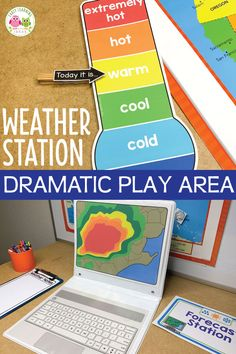 Have fun learning about the weather when you set up a weather station dramatic play area. Encourage pretend play, math, science, and literacy learning with these ideas and printables. Perfect for a weather theme unit or lesson plans in your or Science Center Preschool, Preschool Classroom Setup, Preschool Weather, Preschool Themes, Weather For Kids, Weather Check, Weather Unit, Toddler Classroom, Dramatic Play Themes