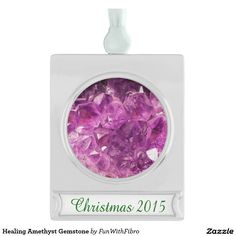 Healing Amethyst Gemstone Silver Plated Banner Ornament