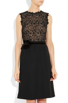 Valentino|Silk-crepe and lace dress|NET-A-PORTER