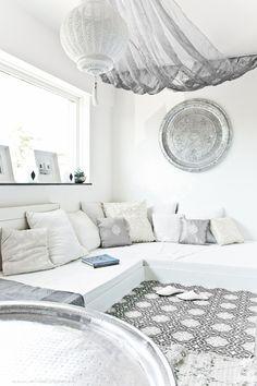 All white Moroccan Glam Interiors.