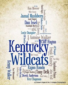 University of Kentucky - Greatest Basketball Players - 8x10 Word Cloud Art Print.  <3