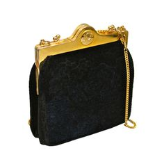 ROBERTA DI CAMERINO black and navy velvet floral kiss lock bag