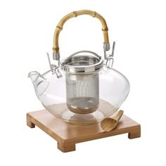 Tea, 42-Ounce, Handblown Glass Zen Teapot with Stainless Steel Infuser and Bamboo Trivet