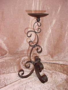 Vintage Black Metal Candlestick Spanish Castle 13 Inches Tall Ornate