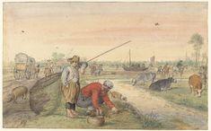 Vissers met schepnetten langs een jaagpad, Hendrick Avercamp, 1595 - 1634