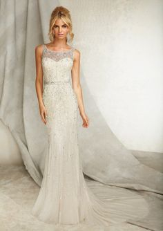 Shimmering Crystal Sheath Wedding Dress with Plunging V Back and Court Train
