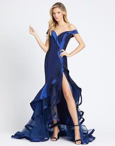 Mac Duggal Evening - Off Shoulder Tiered Ruffle Long Gown - Mac Duggal, Royal Dresses, Plus Size Dresses, Short Dresses, Bride Dresses, Online Dress Shopping, Shopping Sites, Celebrity Dresses, Celebrity Style