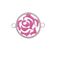 35mm Hot Pink Rose Connector With Rhinestones