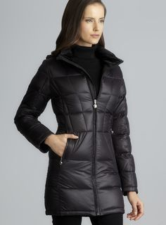 141db7a363aac4 Black Two Pocket Funnel Neck Packable Down Coat With Hood Tuta Sportiva Da  Donna, Capi