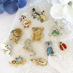 1 Vintage Broach Brooch pin cat kitten mouse rabbit turtle teddy bear ladybug bird nest horse carriage retro mid century costume jewelry by WonderCabinetArts