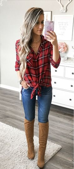 65 Ideas Country Concert Outfit Winter Look so Awesome Outfits Con Camisa, Plaid Shirt Outfits, Outfits Mujer, Cute Fall Outfits, Red Flannel Outfit, Plaid Dress, Dress Shirt, Casual Shirt, Plaid Shirt Outfit Summer