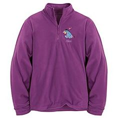 Disney Personalizable Eeyore Fleece Pullover for Women | Disney StorePersonalizable Eeyore Fleece Pullover for Women - Let the cuddly warmth of our characters keep you cozy throughout the season. The Personalizable Eeyore Fleece Pullover for Women provides a light but effective layer of protection against gloomy days and blustery nights.