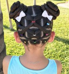 "✨""Don't let anyone ever dull your sparkle. Elastic crisscross ponies into pigtail buns for a hot summer day 👧🏻 The cute little bows are from . Hope you are having a lovely day! Girls Hairdos, Cute Little Girl Hairstyles, Girls Natural Hairstyles, Baby Girl Hairstyles, Kids Braided Hairstyles, Princess Hairstyles, Pretty Hairstyles, Natural Hair Styles, Long Hair Styles"