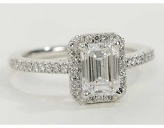 Emerald Cut Halo Diamond Engagement Ring in 14K White Gold | Blue Nile