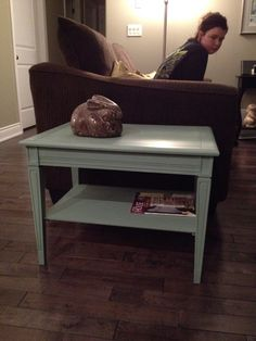 Dark wood to Annie Sloan chalk paint Duck Egg Blue with clear wax.