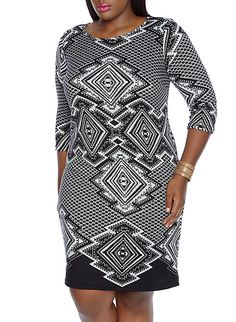 ee8ca082719 Plus-Size Printed Sweater Dress