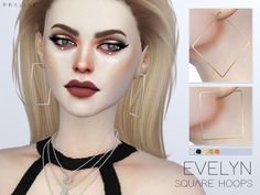 Evelyn Square Hoops by Pralinesims at TSR • Sims 4 Updates