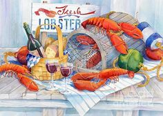 Lobsters Galore Print By Paul Brent