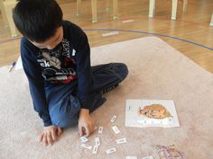 A student playing with the body parts game.