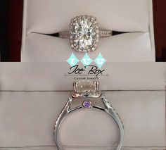9x7 Oval Forever Brilliant Moissanite set in a 14K White Gold Diamond Halo Setting with Hidden Birthstones