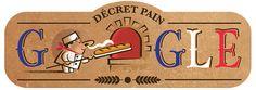 """Google célèbre le """"décret pain"""" qui a encadré il y a 22 ans la fabrication de la baguette."""