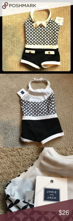 "Girls size 2T one piece swimsuit. Janie and Jack BRAND NEW! Never worn. Fits small. My 30.25"", 27 lb baby girl was too big for it, even though it's 2T. Retro style. Beautiful. Great quality of Janie and Jack designer kids clothing. Janie and Jack Swim One Pieces"