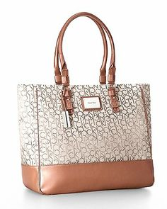 586157708b59bf Calvin Klein Logo Jacquard Fabric Shopper Tote Signature Bag Natural Full  description not available ✓ FREE Delivery Across UAE.