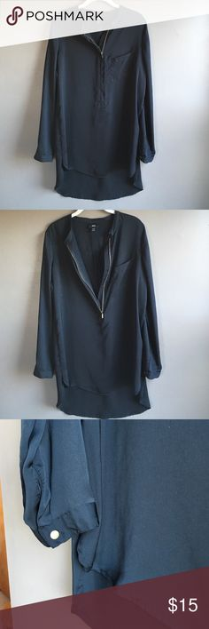 LONG SLEEVE HIGH/LOW TOP WITH ZIPPER LONG SLEEVE HIGH/LOW TOP WITH ZIPPER. 100% Polyester. Light flowy top. Worn and washed. Smoke/animal free home. Good condition. Mossimo Supply Co. Tops