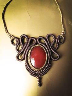 Spiral tribe macrame necklace with carnelian di AbstractikaCrafts, £35.00