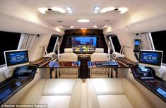How's that for a way to travel: Luxury limousine comes fitted out with drinks cabinet, computer system and even an exercise bike