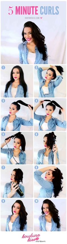 Save time curling your hair by putting it up in a ponytail first.