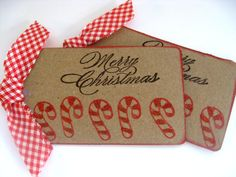 Candy Canes, Handmade Christmas Gift Tags