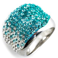 Swarovski Crystale Turquoise Ombre Ring